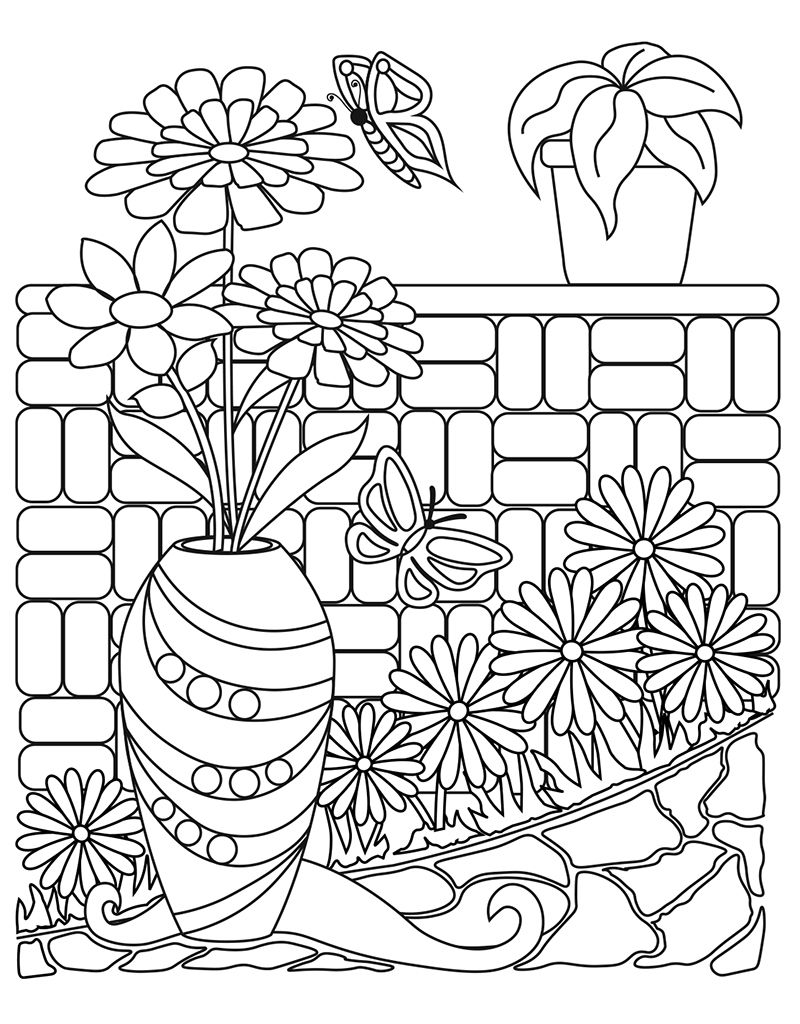 Zendoodle Coloring Big Picture Calming Garden
