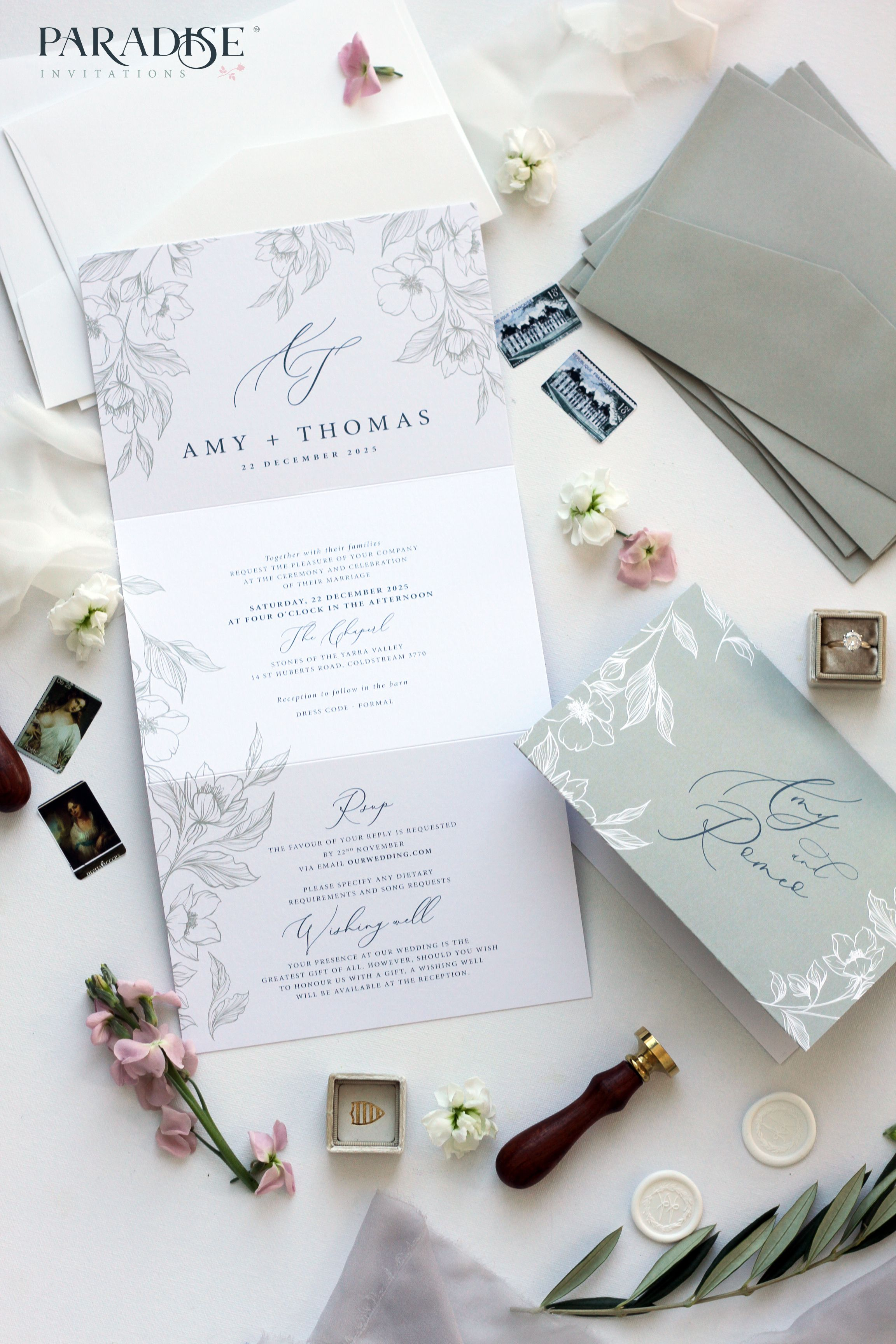 Pin By Levie Loofis On Inv Hand Drawn Wedding Invitations Tri Fold Wedding Invitations Folded Wedding Invitation