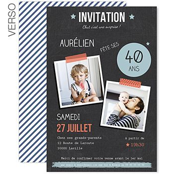 invitations anniversaire adulte pop 40 ans 0 carte invitation diy pinterest birthday. Black Bedroom Furniture Sets. Home Design Ideas