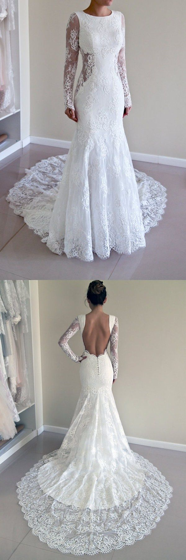 Charming scoop open back sheath lace mermaid wedding dress with long
