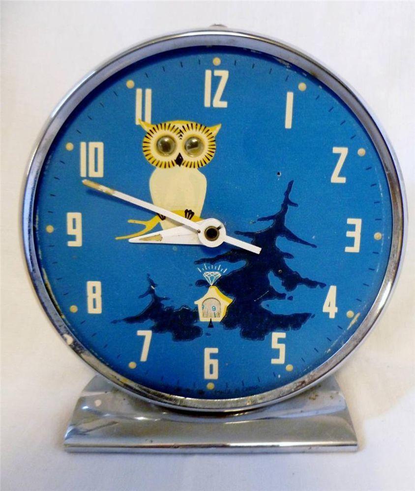Fun Novelty Original Vintage 1950 60 S Moving Eyes Owl Alarm Clock Fully Working Clock Alarm Clock Collectibles