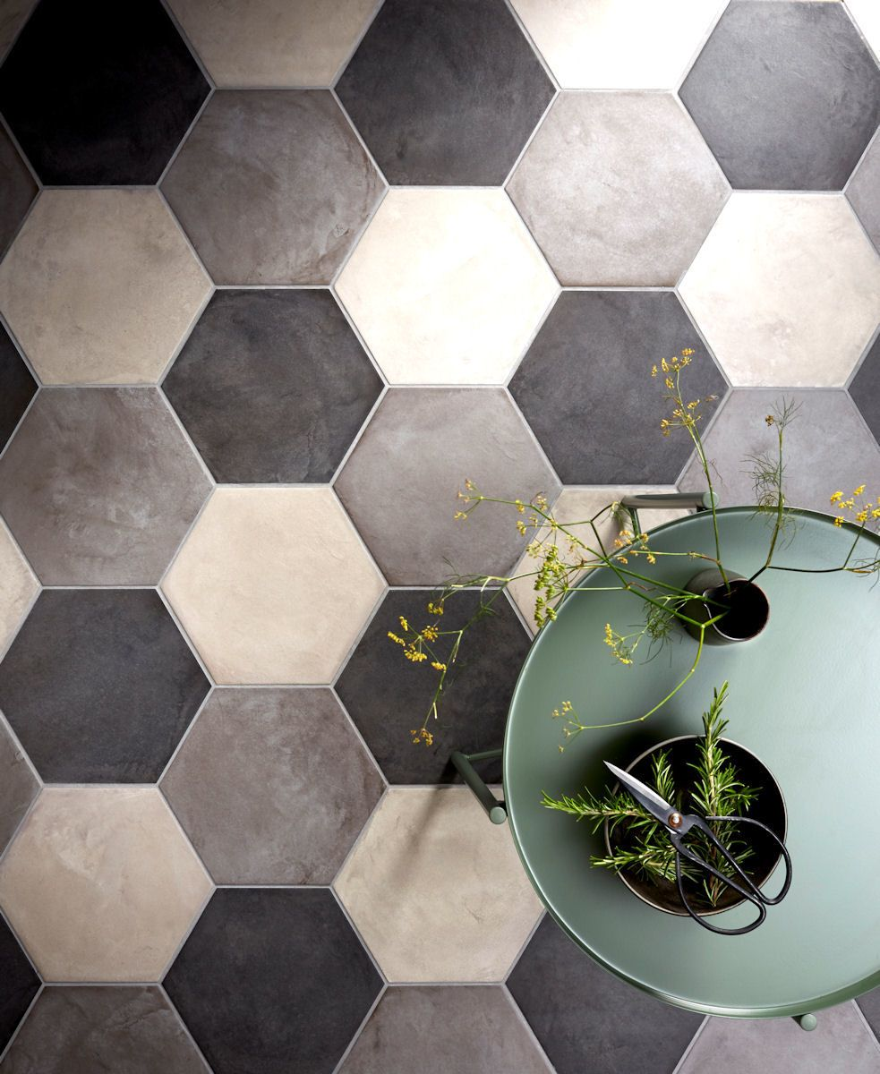 Casablanca Light Grey/Dark Grey & Black Hexagon Tiles