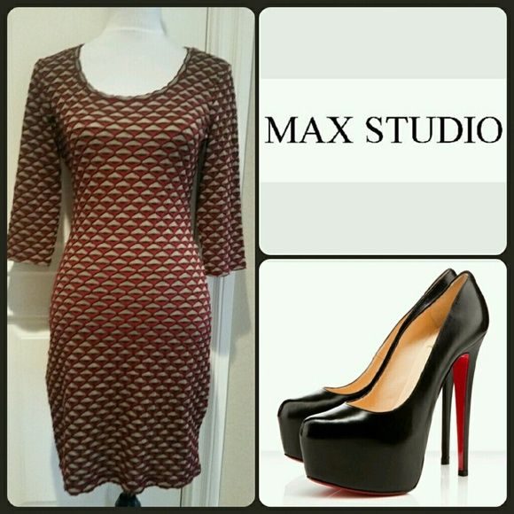 """Max Studio Geometric Print Dress Great dress by Max Studio. This dress looks great with flats, heels to boots. Looks great with or without tights. Comfortable dress. Colors deep red, black and gray. Measures approx. 36"""" long, 3/4 sleeves 15.5"""". 34"""" around the bust lying flat. Will stretch. Comfortable dress great for the office to a day or night out. EUC worn once for a few hours. Dress has been cleaned, like new condition. Size Small. Max Studio Dresses Midi"""