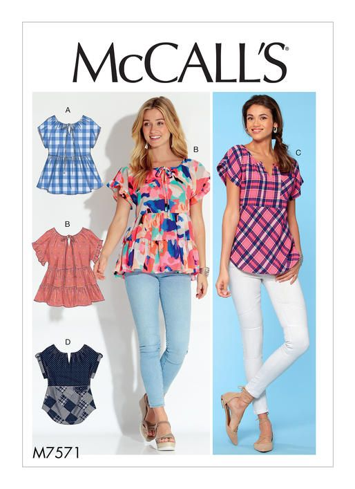 McCall\'s tops sewing pattern. M7571Misses\' Split-Neck Tops with ...