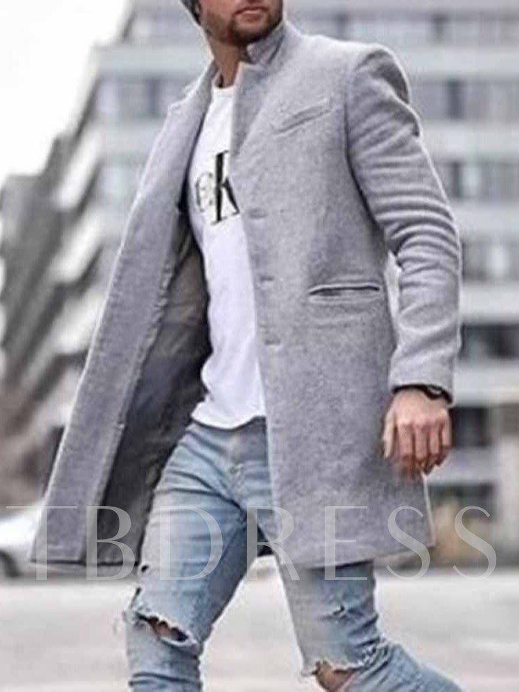 Ericdress Pocket Mid Length Plain Straight Men's Coat