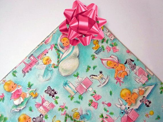 Vintage 1960s Babys First Christmas Gift Wrapping by RecycledWares