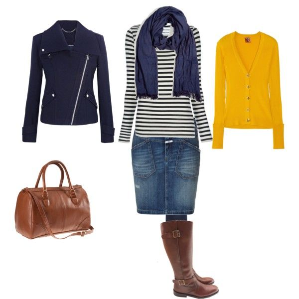 quot navy winter quot stripe shirt w denim skirt and boots my