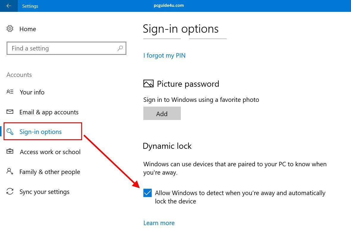 Dynamic Lock in Windows 10 Enable, Configure, Turn On