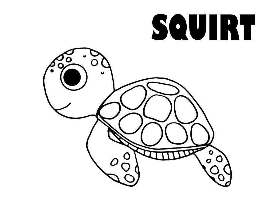 finding nemo coloring pages squirt - Crush Finding Nemo Coloring Pages