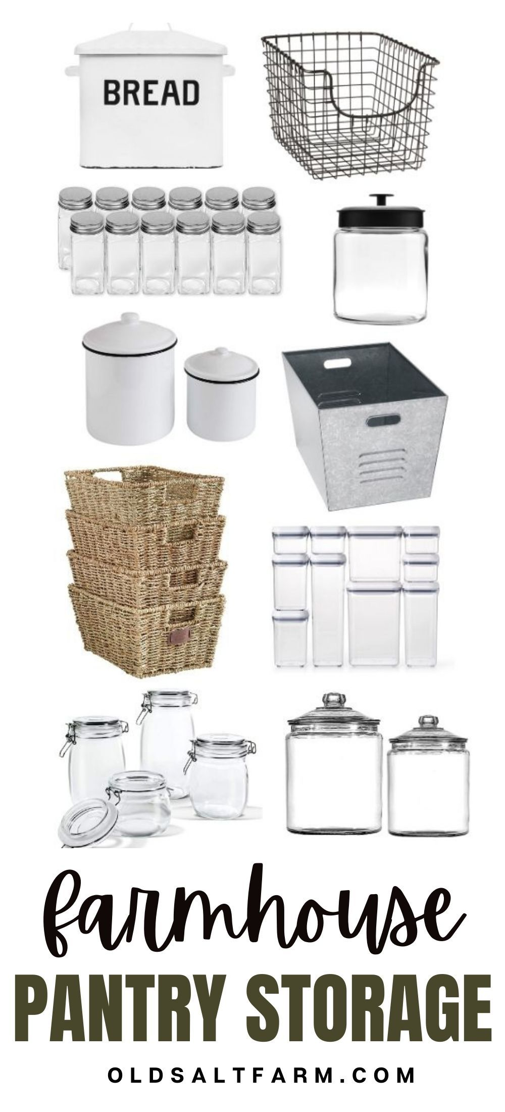 The best Farmhouse Pantry Storage Containers...baskets, bins, and jars. Perfect for keeping your pantry organized!