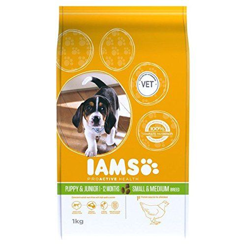 Iams Puppy And Junior Small Medium Dry Dog Food 1kg Pack Of 4