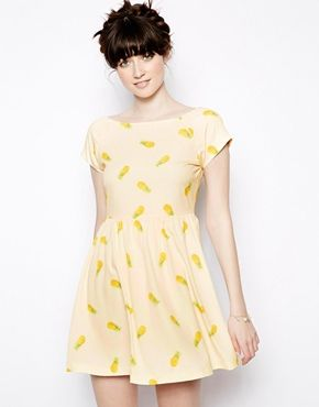 41f47363f7ed5f Nishe Pineapple Print Skater Dress | The Closet of My Dreams ...