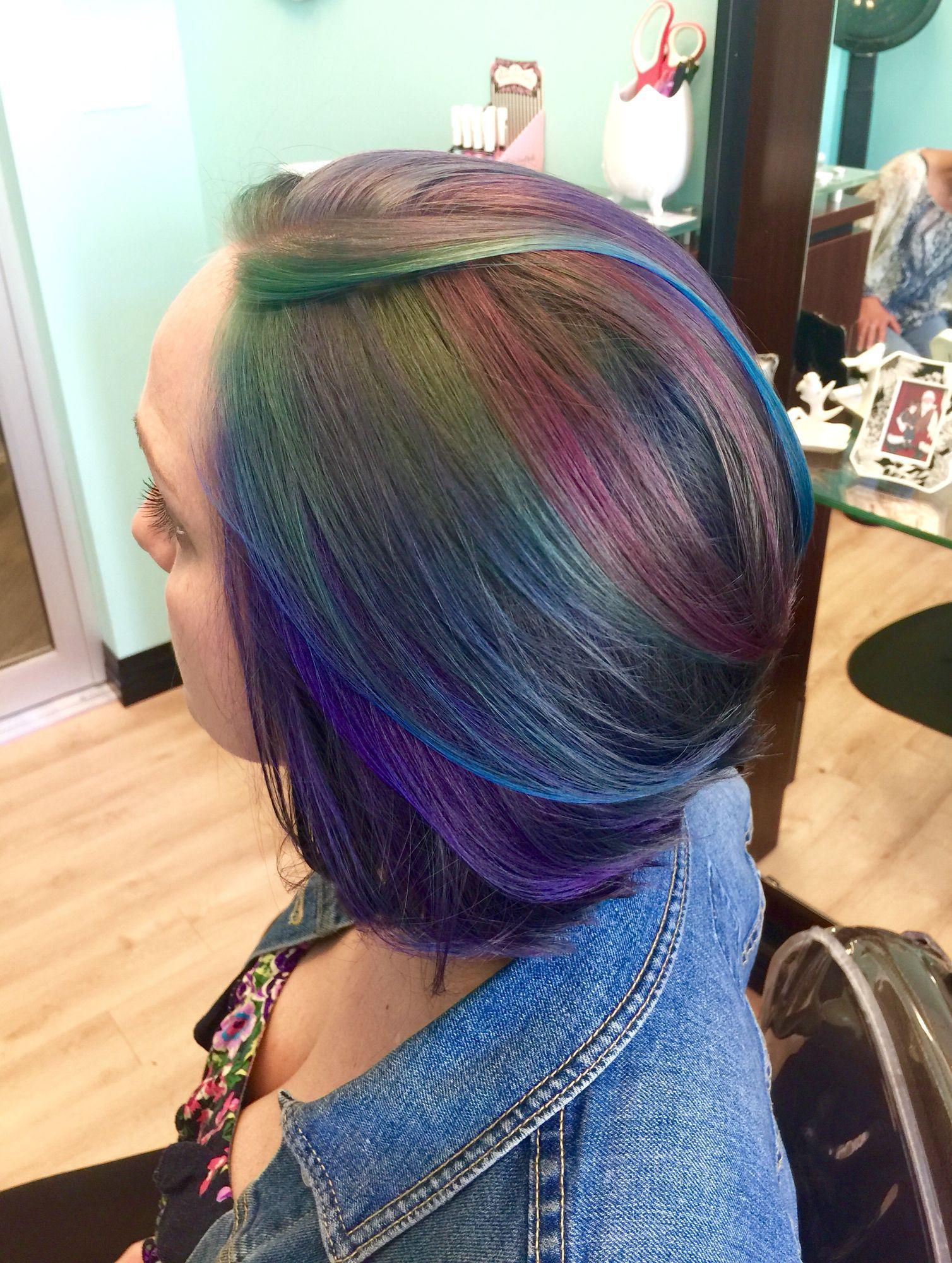 Oilslick/Galaxy/mermaid hair by Nicole at Nicole's Beauty Box, down town St. Pete, FL