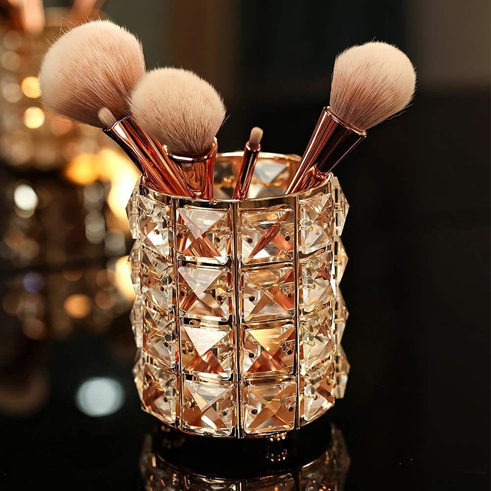 VINCIGANT Handcrafted Crystal Makeup Brush Holder