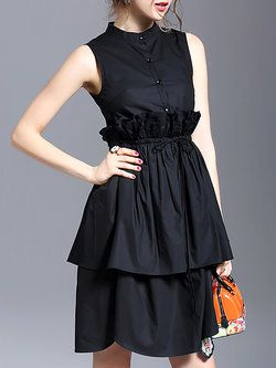 Buttoned Cotton Mini Dress