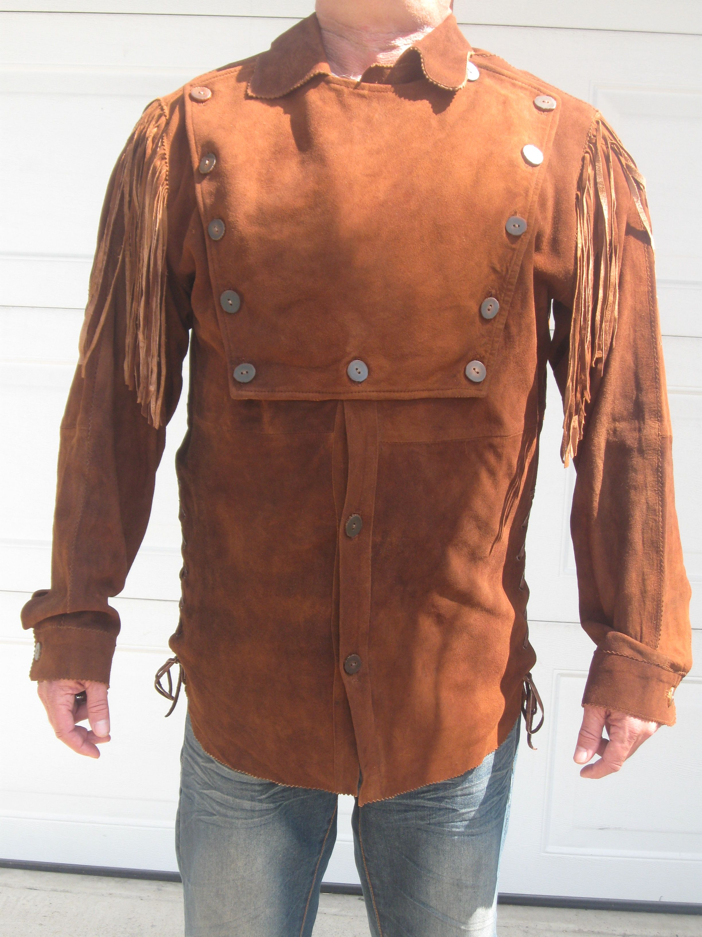 Men s longhorn suede bib shirt stuff to buy pinterest for Mens shirts with leather