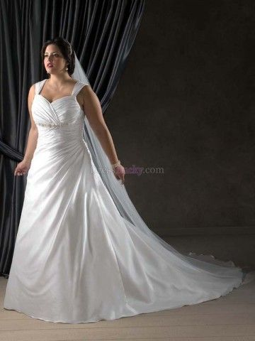 White Plus Size Sweetheart Natural Sleeveless Wedding Dresses With Ruffles WDBF3