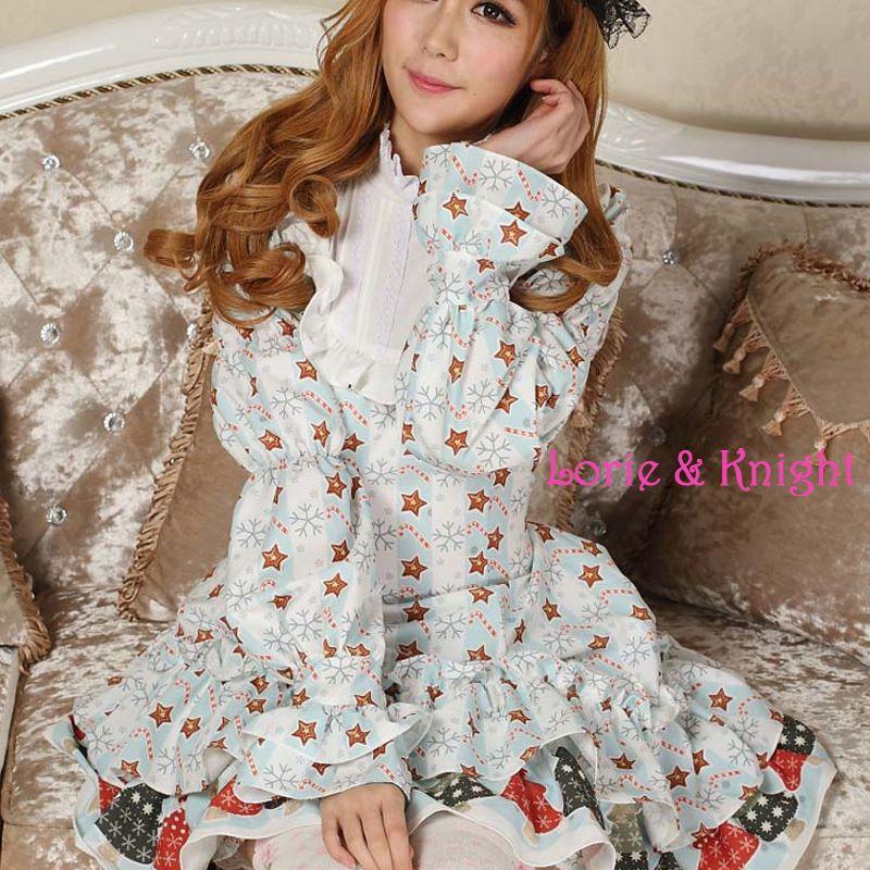 Christmas Lucky Star Printing Sky Blue Long Sleeves Princess Girl Sweet #Lolita #OP Dress