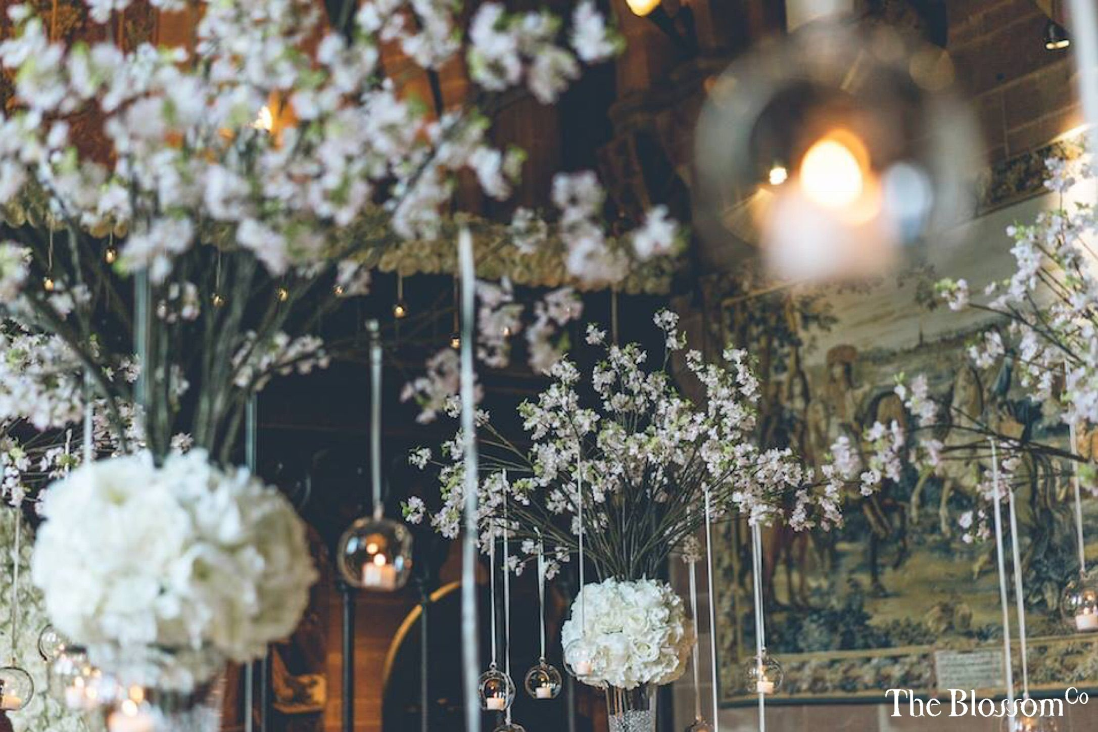 Spring Wedding At The Peckforton Castle Blossom Tree Arrangements