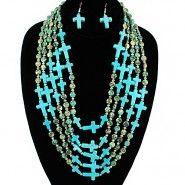 Multi-Strand gold and turquoise Necklace Set