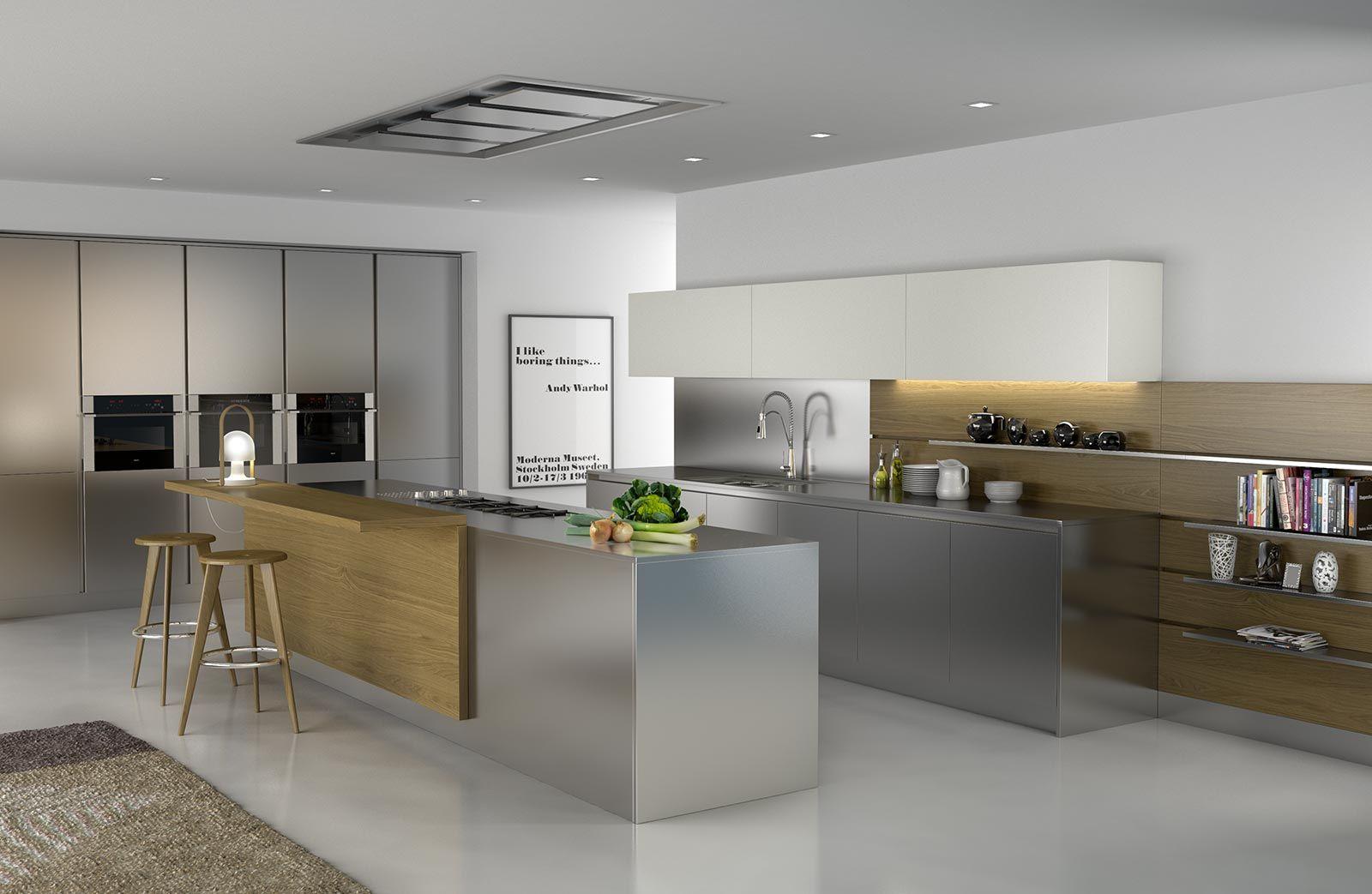 Render 3D y diseño de ambiente de cocina, en acero inoxidable ...