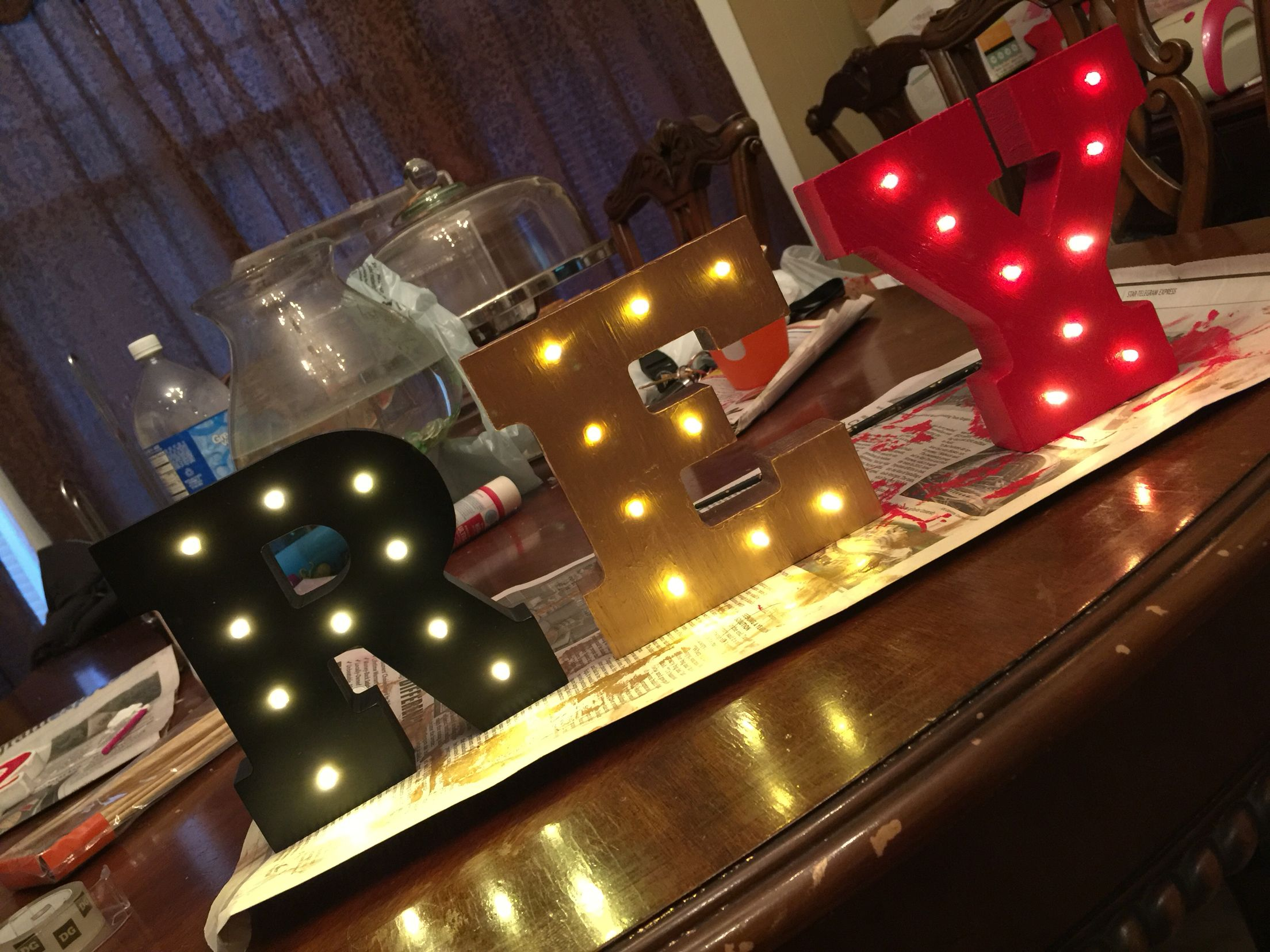 Cars Table Decorations Disney Cars Light Up Letters Red Gold Black Theme Table