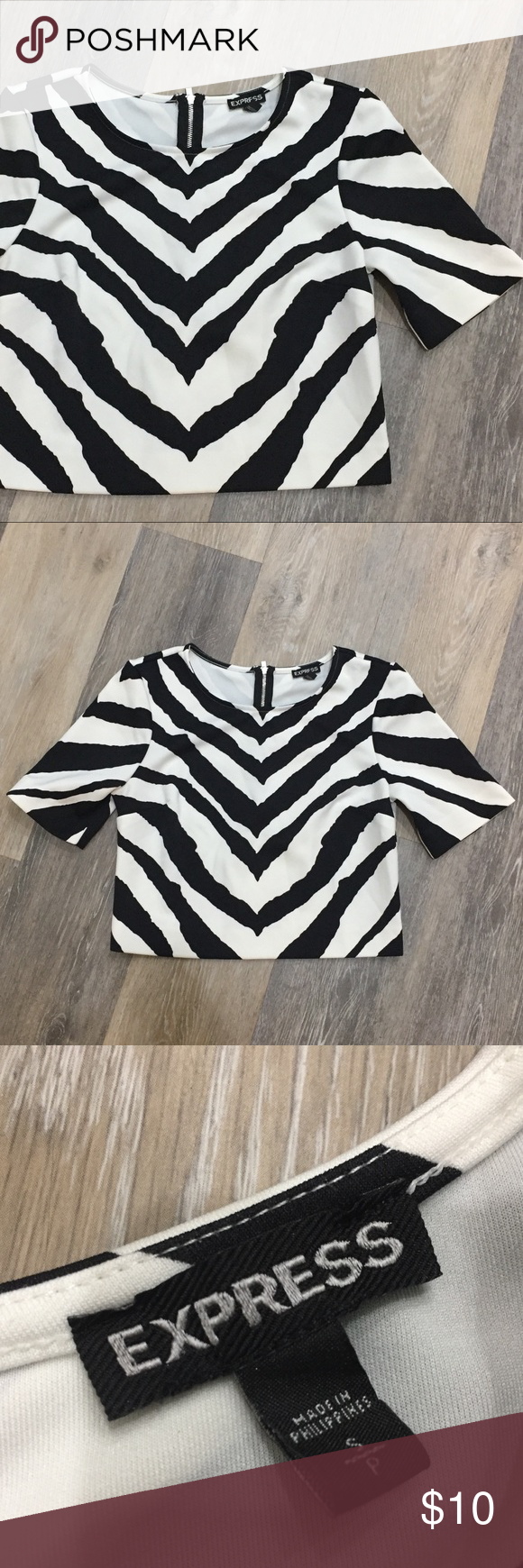 EXPRESS Half Sleeve Zebra Crop Top - size Small Super cute top in excellent condition! Size Small. Very comfortable. Has a heavyweight neoprene feel to it- it's actually 93% polyester, 7% spandex. Wear it with skinny jeans and black heels- or a neon colored waisted pencil skirt and chunky sandals! Express Tops Crop Tops