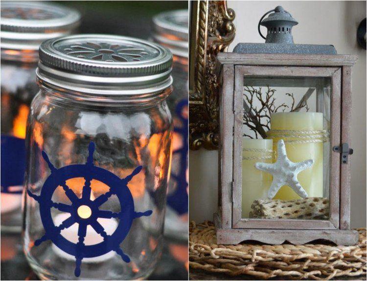 déco marine originale - lanternes DIY décorées de sticker barre à roue, étoile de mer et bois flotté