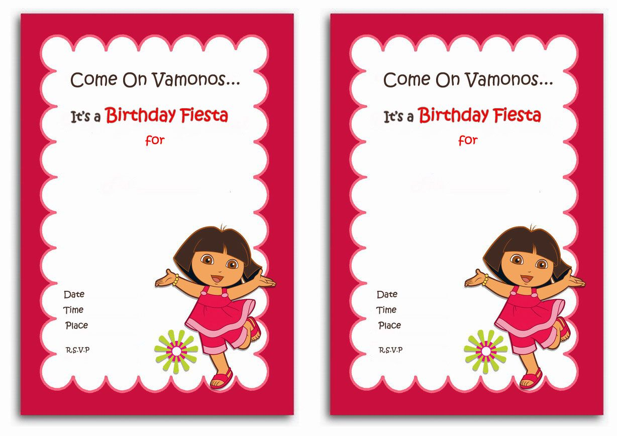Dora the Explorer FREE Printable Birthday Party Invitations