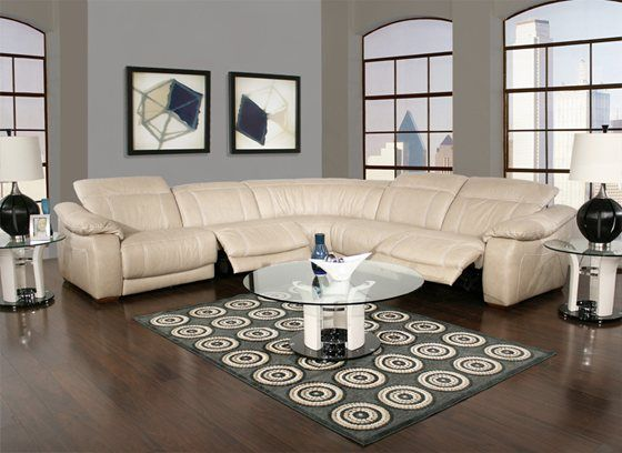 Stretch out on the Dario 5-piece power reclining modular sectional upholstered in top grain & Stretch out on the Dario 5-piece power reclining modular sectional ... islam-shia.org