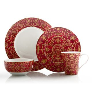 222 Fifth Pilar Red 16 Piece Dinnerware Set Ping The Best Deals On Casual