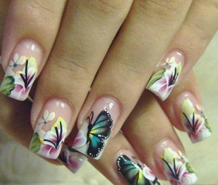 Butterfly Nail Art Nails Solo Uas Pinterest Nail Art Nails