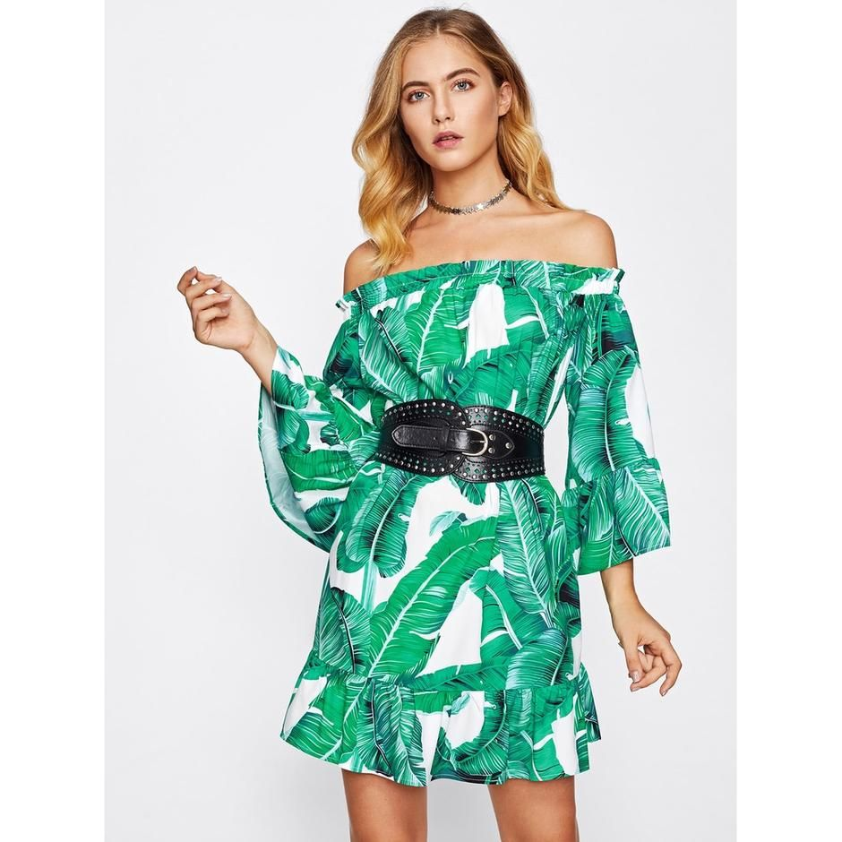 b413b9a40a49 Off Shoulder Jungle Print Dress   modifiedtruth.net    trendy style on  friendly budget