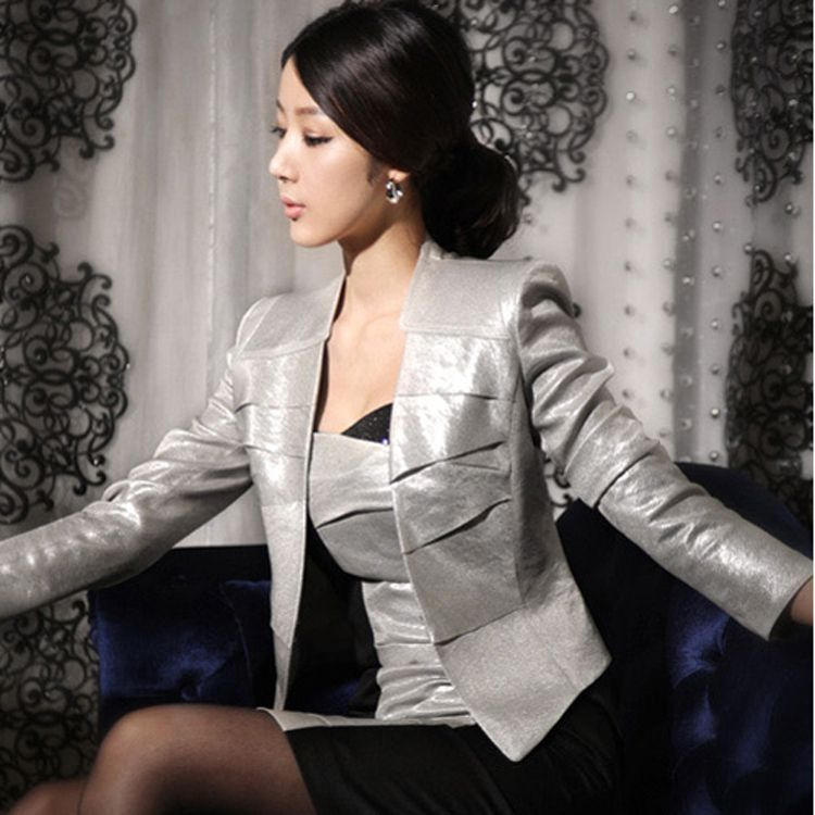 2013 spring coat blazer short design thin suit slim women's coatsoutwear shinny silver ladies coat free shipping wholesale $22.40
