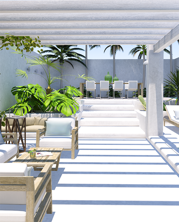 un patio contempor neo de aire tropical terrazas y