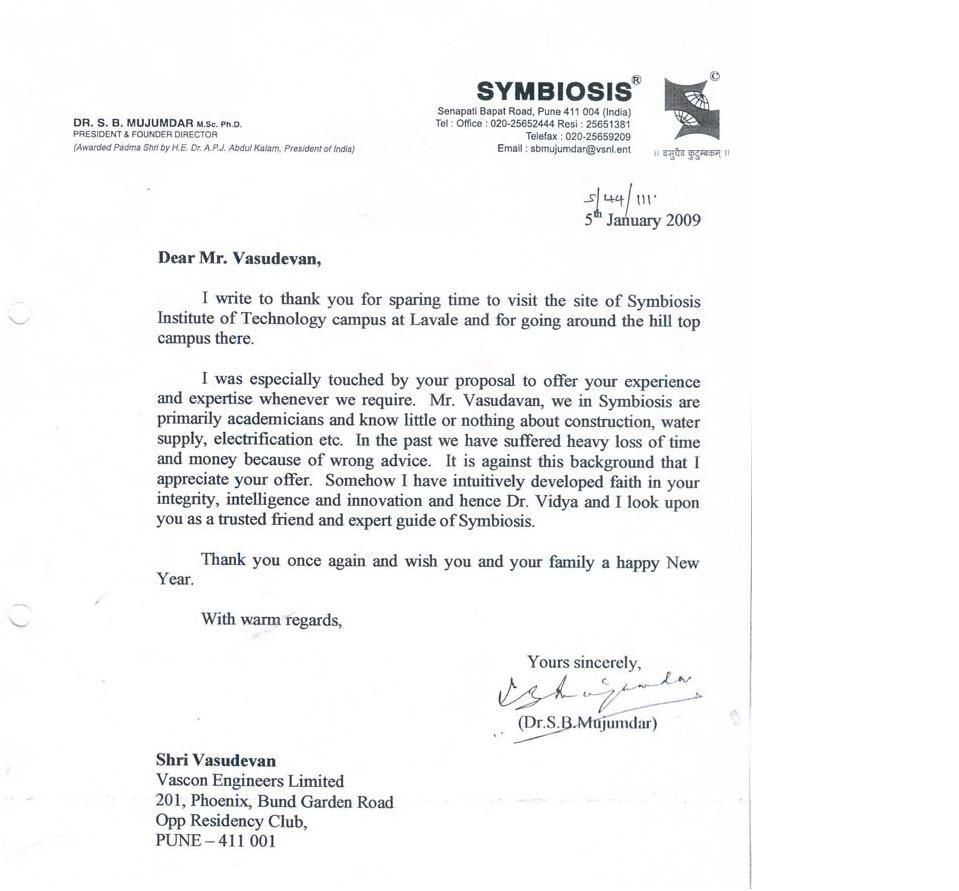 Appreciation Letter | Appreciation Letter By Symbiosis Institute Of  Technology ~ Vascon .