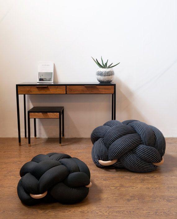 Medium Black Floor Cushions, Knot Floor Pillow, Mmodern Home Decor ...