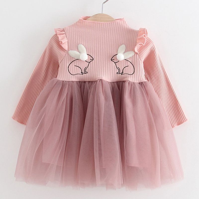 2018 neue Marke Baby Kleider Langarm Kaninchen stickerei Partei Prom ...