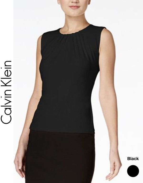 Sleeveless Pleated Top by Calvin Klein