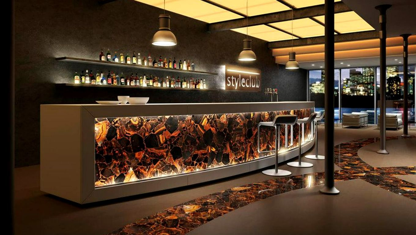 Wild tiger eye, gold stone. Way cool bar design. | commercial spaces ...