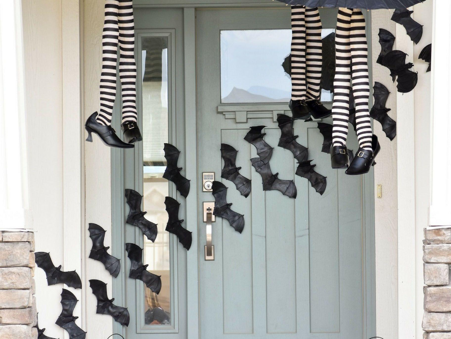 Halloween Porch Diy Flying Bat Decor