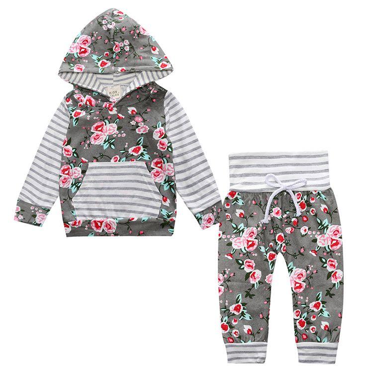 2017 heißer baby Herbst neuen baby-kleidung Kinder Baby Mädchen Langarm-kapuzen Tops Floral hosen 2 stücke. kleidung set SY188