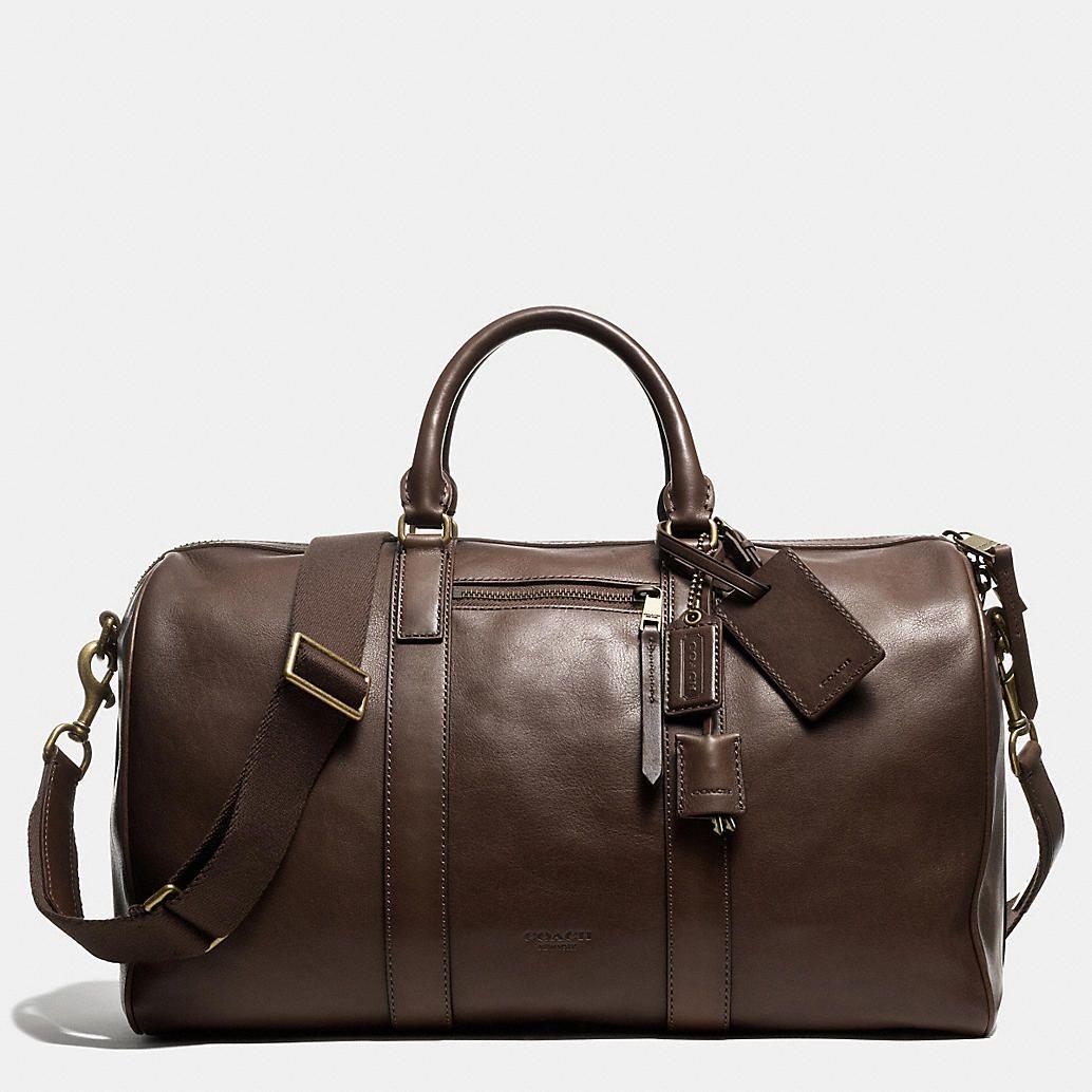 Coach Mens Travel Bleecker Duffle In Leather Bagweekender