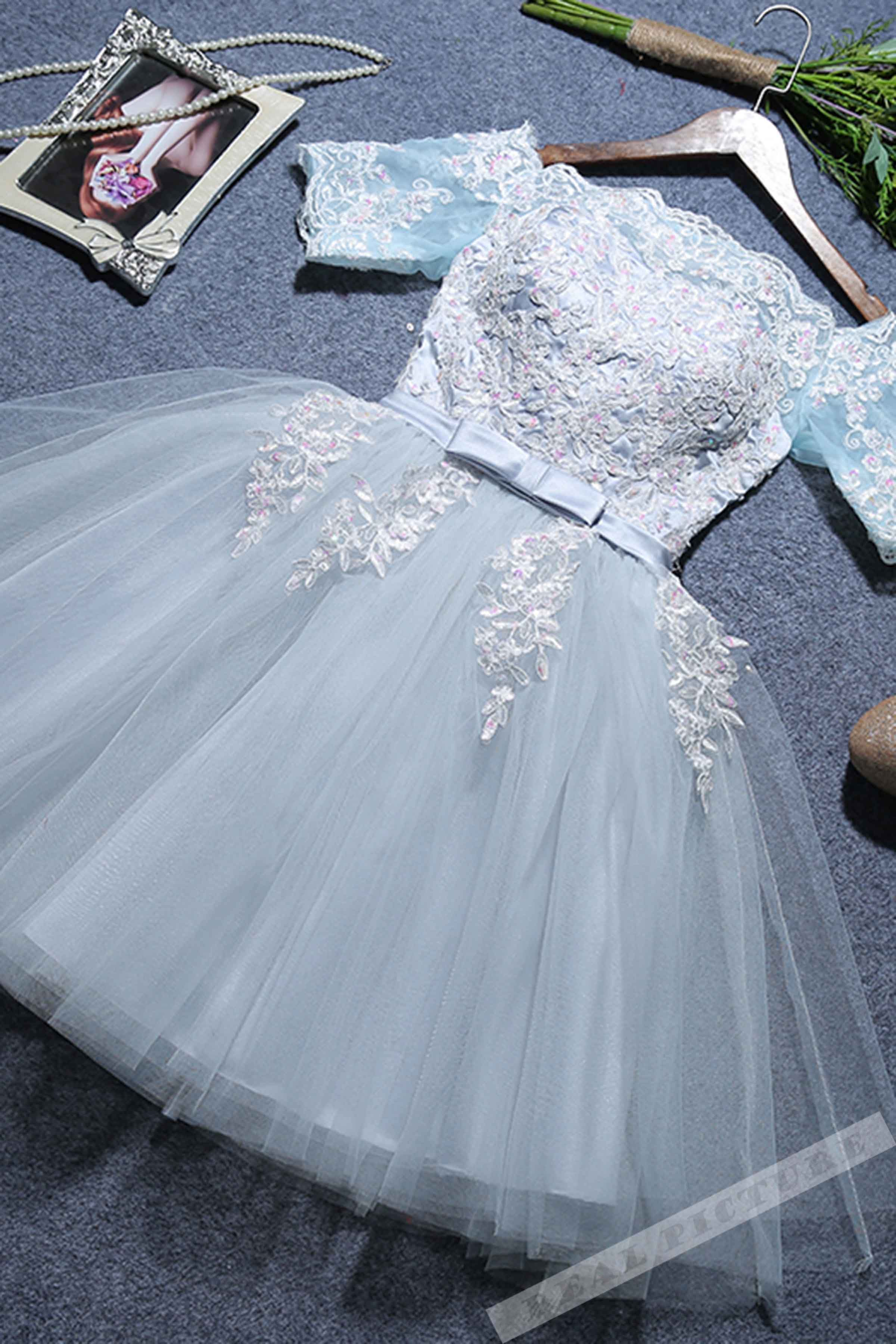 Ice blue tulle lace offshoulder short sleeves short prom dress