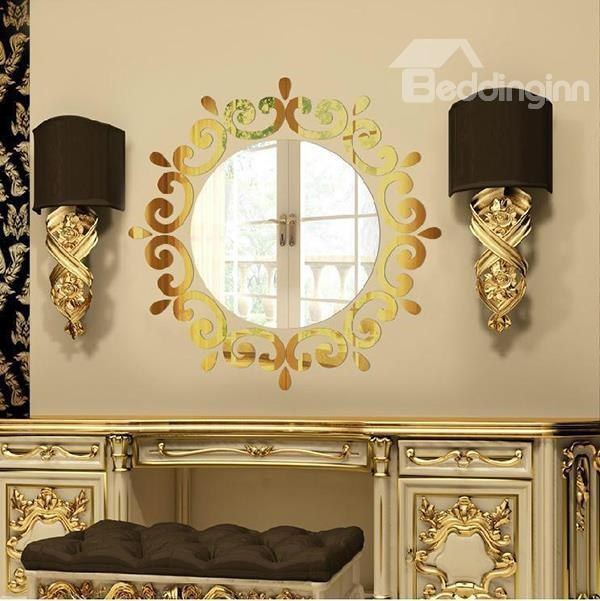 Silver/Golden Round Mirror with Frills Acrylic 3D Waterproof Wall ...