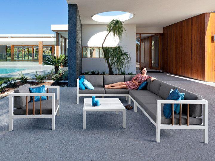 LUNA Lounge Garten Sofa 2 Sitzer #garten #gartenmöbel #gartensofa  #gartenlounge #loungegruppe #sitzgruppe #gartensessel #alu #stoff  #modulsofa #ganzjährig ...