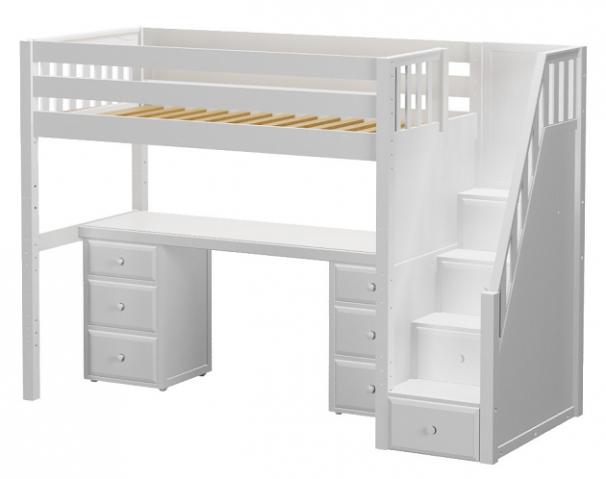 Haylee Full Size Stairway Study Loft Bed White Loft Bed White
