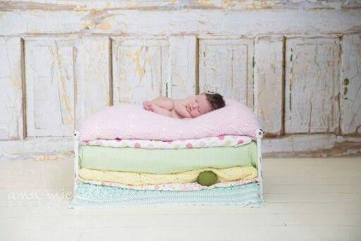 Adorable Newborn girl Princess and the Pea
