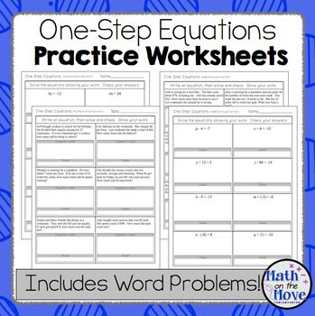 OneStep Equations Worksheets Including Word Problems  Word