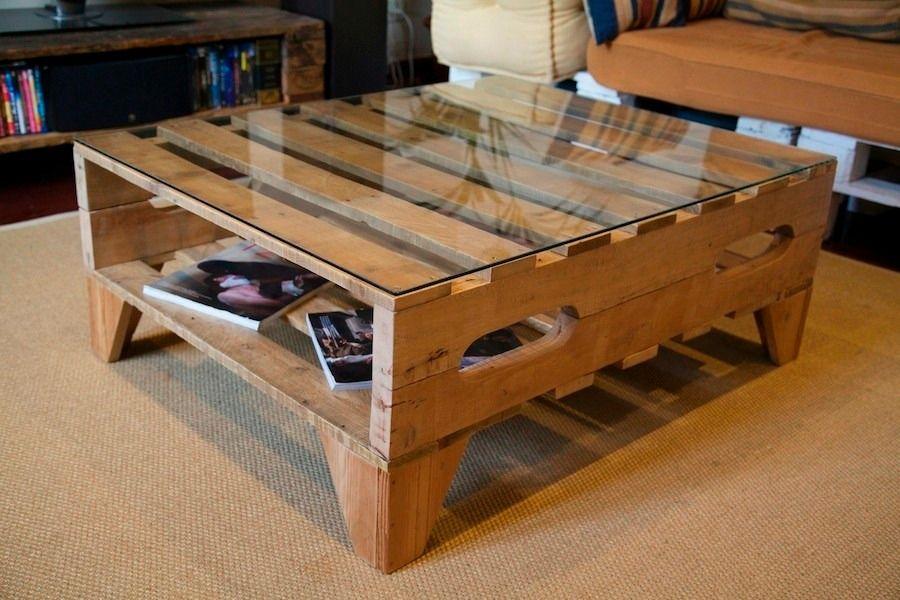 Resultado de imagen para mesa de pallet con vidrio for Articulos hechos con palets
